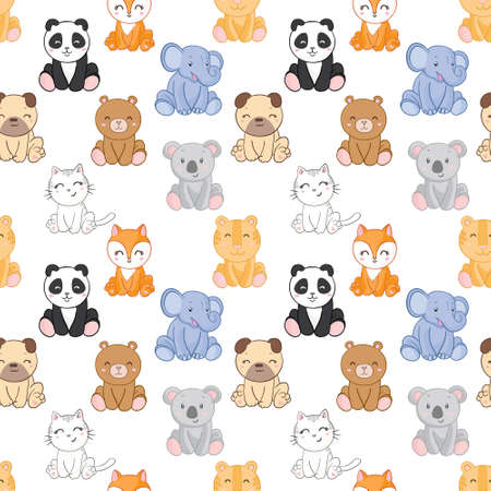 Seamless childish pattern with funny animals faces. Creative scandinavian kids texture for fabric, wrapping, textile, wallpaper, apparel. Vector illustration 向量圖像