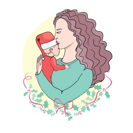 Merry Christmas. Childhood, happiness, family - little child and mother hugging. Vector logo, text design.