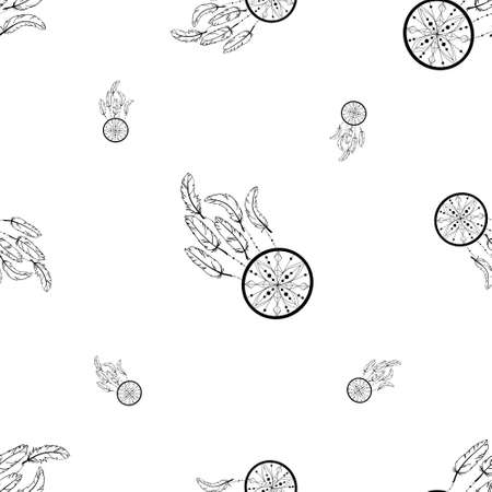 Vecto rseamless background, retro pattern, ethnic doodle collection, tribal design. Hand drawn illustration with indian dreamcatchers and feathers on the white background