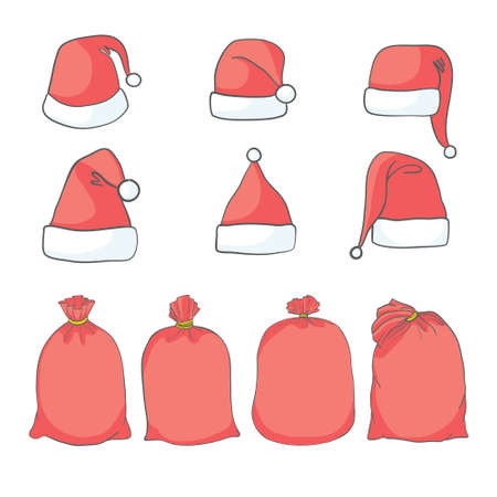 Christmas Santa's Bag and hat Vector set Design
