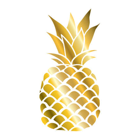 Pineapple gold icon. Tropical fruit, isolated on white background. Symbol of food, sweet, exotic and summer, vitamin, healthy. Nature logo. Design element Vector illustration 向量圖像