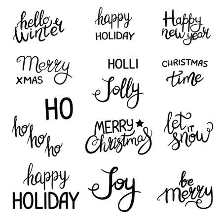Merry Christmas. Happy New Year. Typography set. Vector text design.