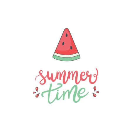 Vector slice watermelon. Fruit illustration for farm market menu. Healthy food design 向量圖像