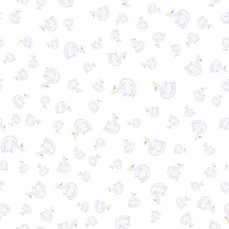 Seamless childish pattern with swan princess. Creative nursery background. Perfect for kids design, fabric, wrapping, wallpaper, textile, apparel