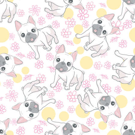 Happy dogs group. French bulldog seamless pattern. Vector illustration. 向量圖像