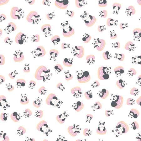 Beautiful panda holding a donut seamless pattern on a white background