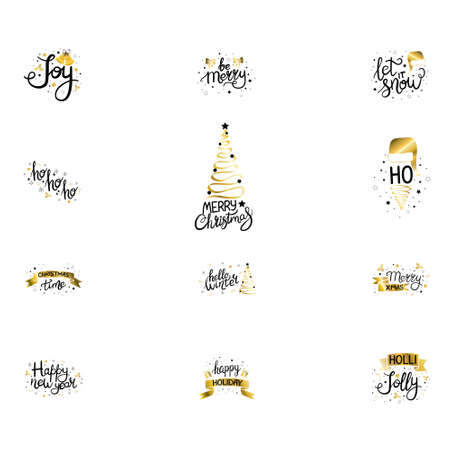 Merry Christmas. Happy New Year. Typography set. Vector logo, emblems, text design. Usable for banners, greeting cards, gifts etc.