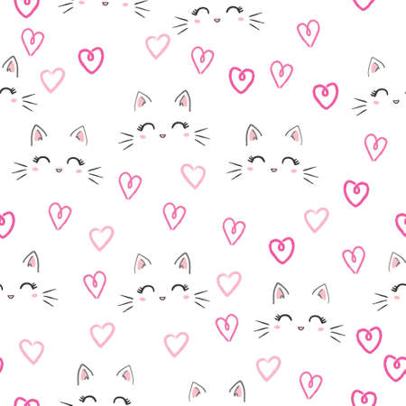 Seamless vector pattern with cats. Smiling cute cats background. 向量圖像