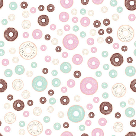 Hand drawn donut seamless pattern. Pastry illustration. Vector bakery background design