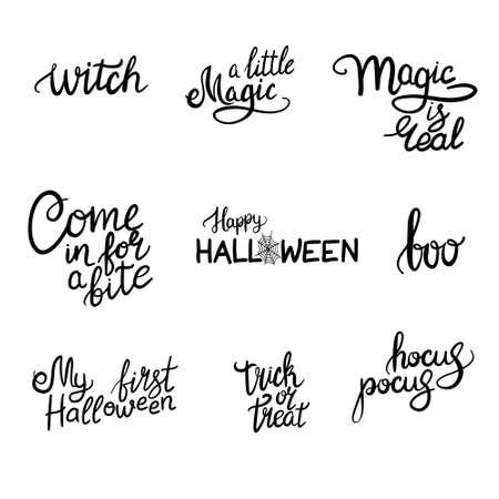 Happy Halloween hand drawn lettering vector