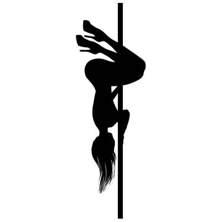Vector silhouette of girl and pole on a white background. Pole dance illustration. EPS10
