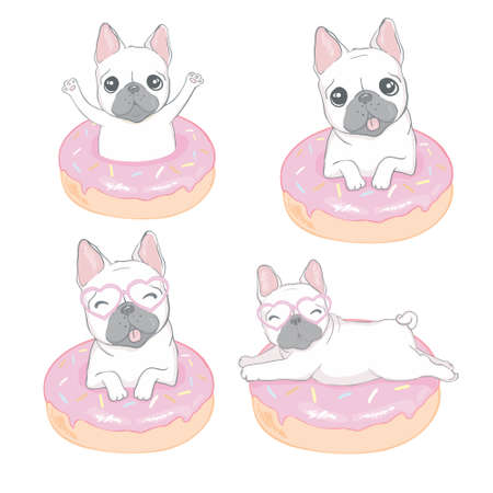 Cute bulldog and a donut on an isolated white background. Illustration, vector 向量圖像