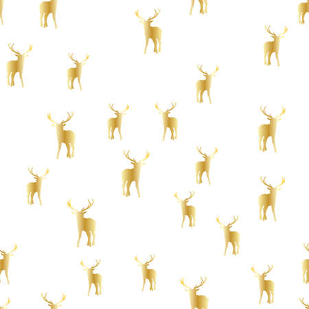 Merry Christmas abstract pattern with christmas tree, deer and cross. Vector illustration. 向量圖像