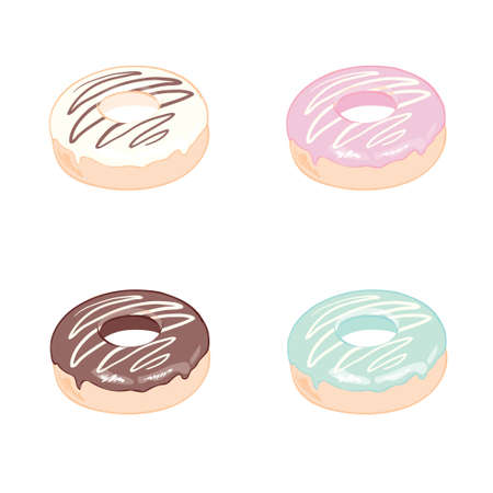 Donut set with sprinkles isolated on white background. Donut ui, donuts app icons. Vector eps10