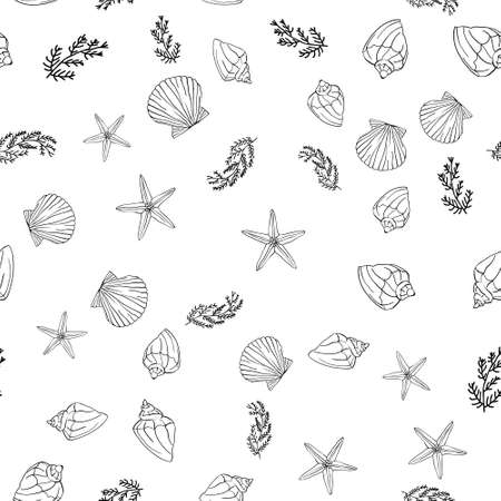 Hand drawn sea illustration. Set of seamless pattern with shells. Vector 向量圖像
