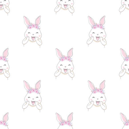Cute Rabbit with bow sketch vector illustration pattern seamless, hand drawn bunny Background