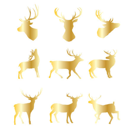 Collection of gold Christmas deer silhouettes isolated on the a white background. Golden Xmas reindeers. Vector illustration. 向量圖像