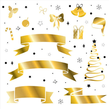 Set of golden Christmas trees silhouettes. Vector isolated gold icon collection of evergreen spruce fir decor. 向量圖像