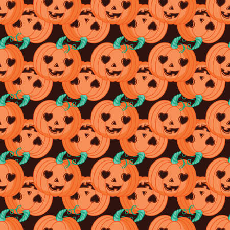 Halloween Seamless Pattern with Pumpkin. Colored Vector Patterns in Flat style.