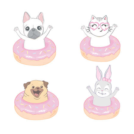 Pets. ? ute cat, rabbit, dog and donut isolated on white background. Vector illustration