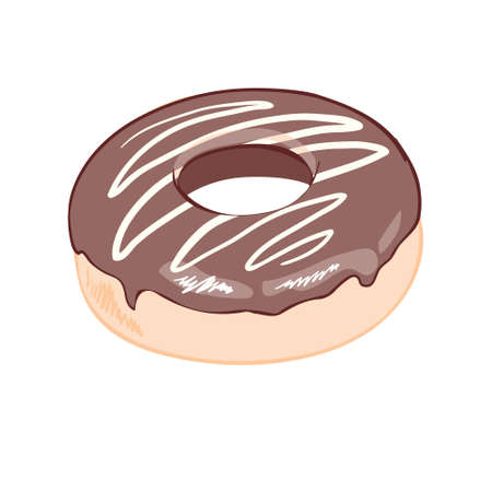 Chocolate donut on white background, flat vector illustration