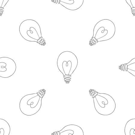 Lamp, light bulb with heart seamless pattern design. Hand drawn doodle light bulb icon. Concept of big idea inspiration, innovation, love. Vector illustration. Idea and love symbol. Sketch.