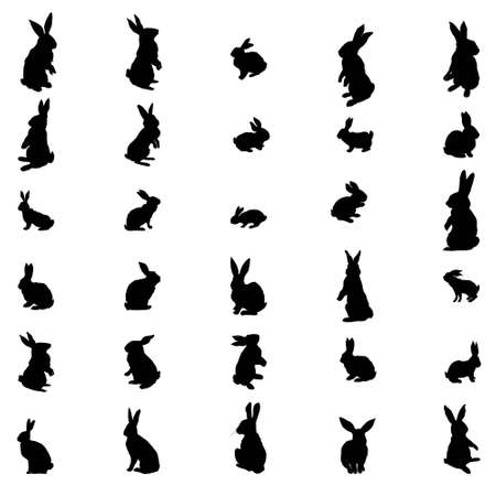 Set Rabbit and Hare Easter silhouette. Vector illustration