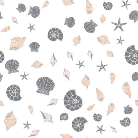 Hand drawn sea illustration. Set of seamless pattern with shells. Vector Illustration