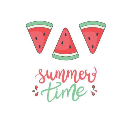 Vector slice watermelon. Fruit illustration for farm market menu. Healthy food design Standard-Bild - 156383958