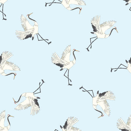 Seamless pattern, background with birds. White Heron, crane. Vector illustration. Isolated on a white background.