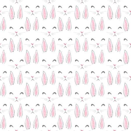 Hand Drawn Cute Bunny Pattern, print design rabbit background, children print textile design 向量圖像