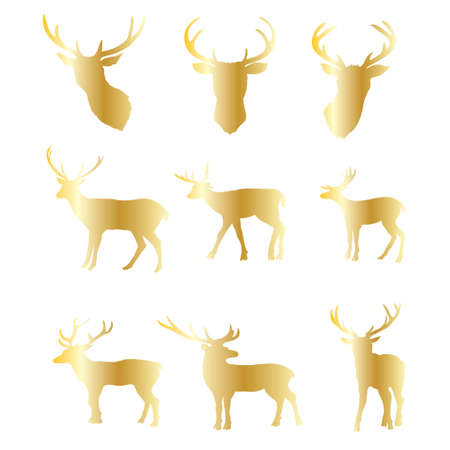 Collection of gold Christmas deer silhouettes isolated on the a white background. Golden Xmas reindeers. Vector illustration. Illustration