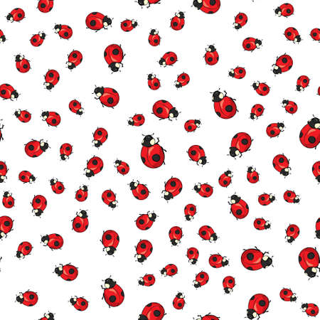 Vector seamless pattern background. Elegant texture for backgrounds. With ladybugs and dots. Illustration