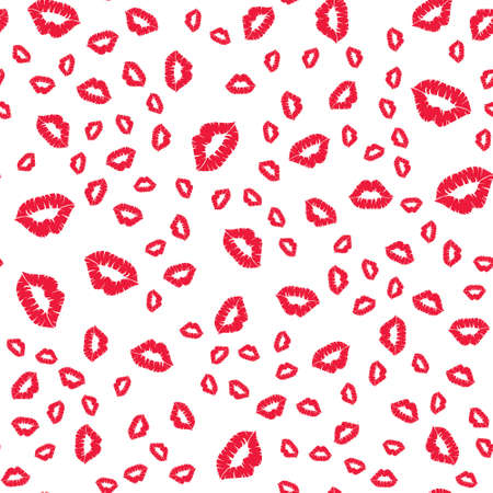 Seamless pattern with a lipstick kiss prints on white background. Vector background Standard-Bild - 156384110