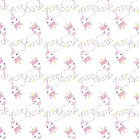 Cute Pink Baby Unicorn Pattern Doodle - Little Pony Cartoon Illustration Character Vector Graphic Designs for textile fashion pattern decorative decoration motif ornament fashionable other