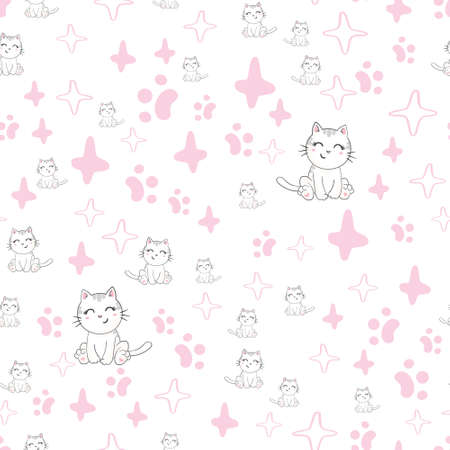 Seamless vector pattern with cats. Smiling cute cats background. Illustration