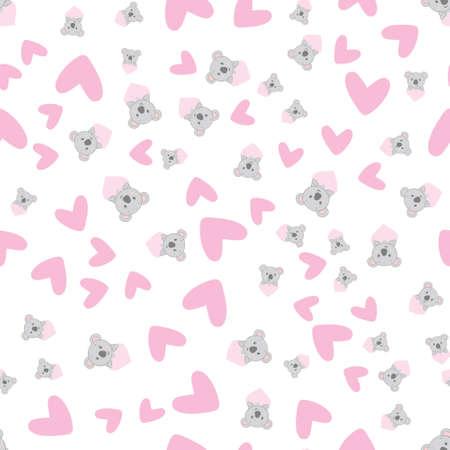 Hand Drawn cute koala Pattern, print design background, children print textile design 向量圖像
