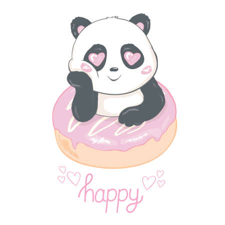 Cute panda and donut flat vector illustration. Asian rainforest bear with tasty pastry isolated design element. Jungle wildlife, zoo animal. Sweet bakery shop, store design element Illustration