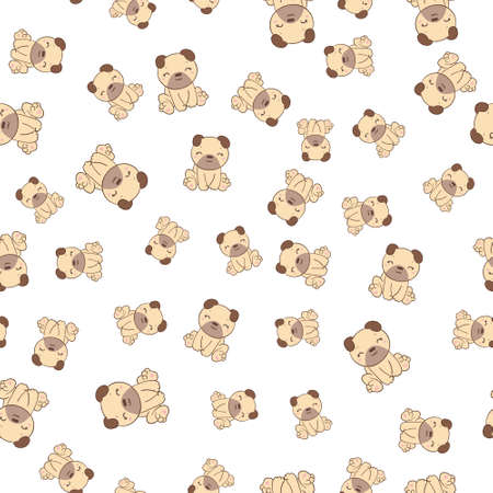 Vector illustration. Seamless vector pattern with pugs.