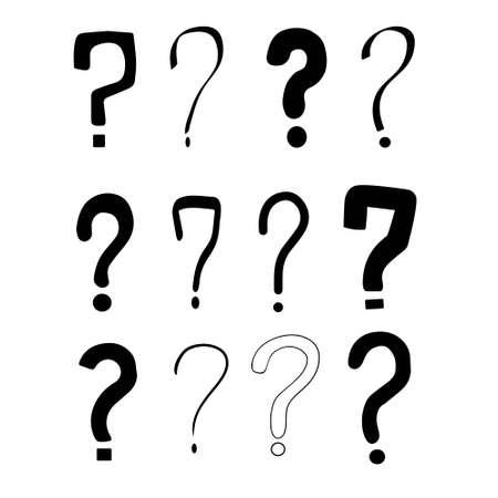 Set of hand drawn question marks. Vector illustration. 向量圖像