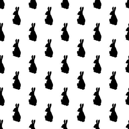 Hare silhouette seamless pattern. Background for Easter gift paper. Vector illustration
