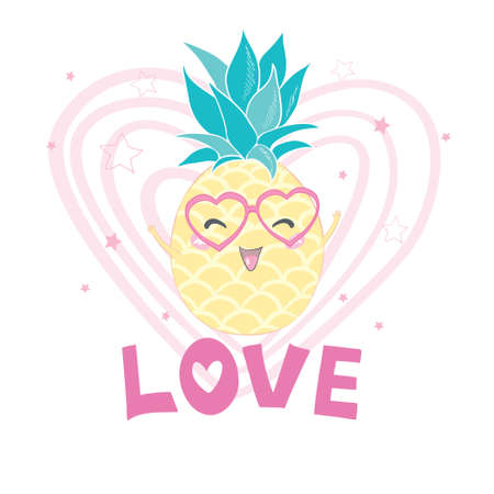 Pineapples wearing sunglasses, isolated on white background. Pineapple juice, tropical fruit, summer holiday, vacation, concept, beach, travel. Vector illustration Illustration