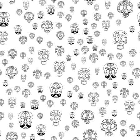 Skull Seamless Background. Mexican day of the dead. Freehand drawing.