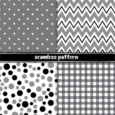 Seamless patterns set black and white