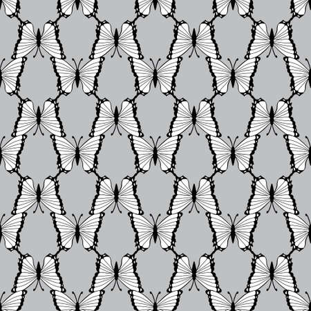 Black and white butterfly, seamless pattern. Vector background Illustration