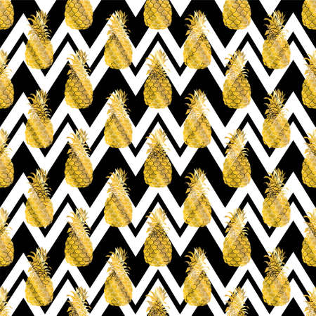 Seamless repeating pattern with pineapples in gold. Modern textile, greeting card, poster, wrapping paper designs.