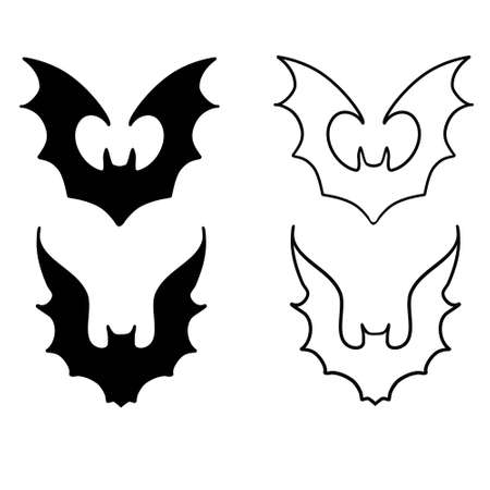 Set bats. Collection of bats. Flying bats. Halloween. Set of black silhouettes. Cartoon bats. Line art. Drawing by hand. Doodle. Tattoo.