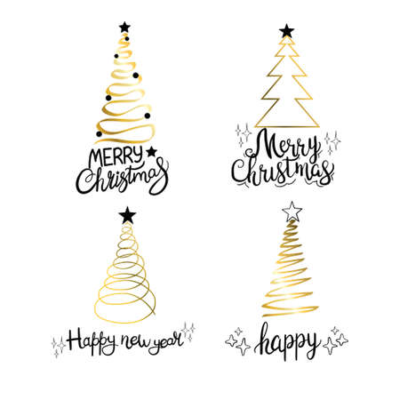 Set of golden Christmas trees silhouettes. Vector isolated gold icon collection of evergreen spruce fir decor. Illustration