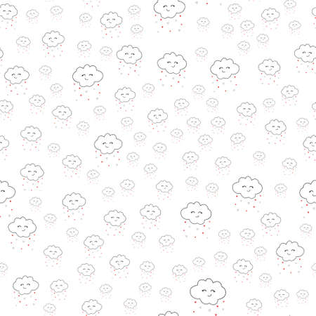 Seamless pattern. Kawaii funny white cute clouds Vettoriali