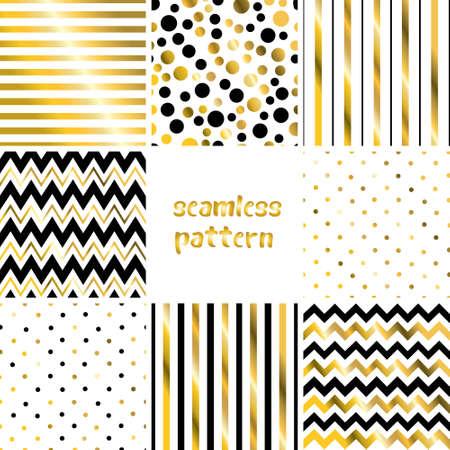 Geometric golden seamless pattern set. Stripes, polka dot, diagonal strokes, chevron universal basic background. Shining luxury glamor vector illustration